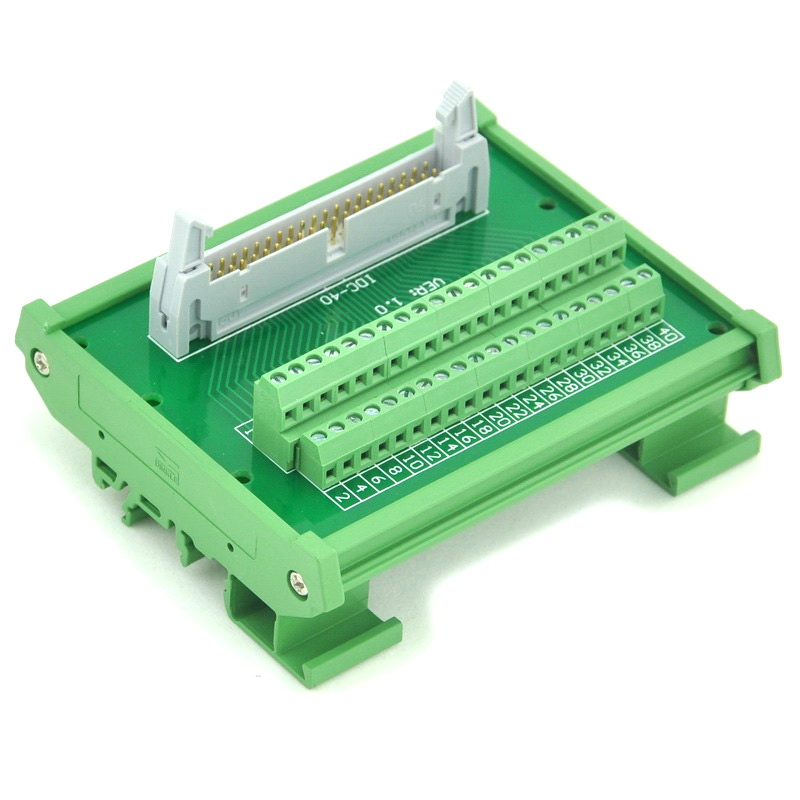 IDC-40 DIN Rail Mounted Interface Module, Breakout Board, Terminal Block.<br>