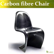U-BEST Mid-century modern design chair ,Carbon fiber shell with glossy finish S shape dining chair,Carbon Fiber  furniture