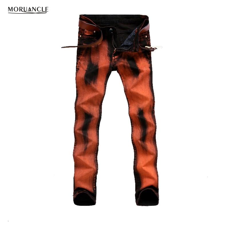 Mens Fashion Orange Black Print Jeans Pants Casual Slim Fit Stretch Denim Joggers Skinny Pencil Trousers Brand Designer E0013Одежда и ак�е��уары<br><br><br>Aliexpress
