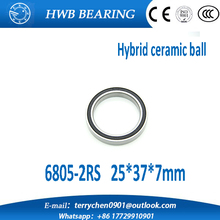 Free shipping 2pcs/lot 6805 2rs 20X32X7mm rubber seal hybrid ceramic bearing 25*37*7mm 680-2RS 6805RS for bicycle part
