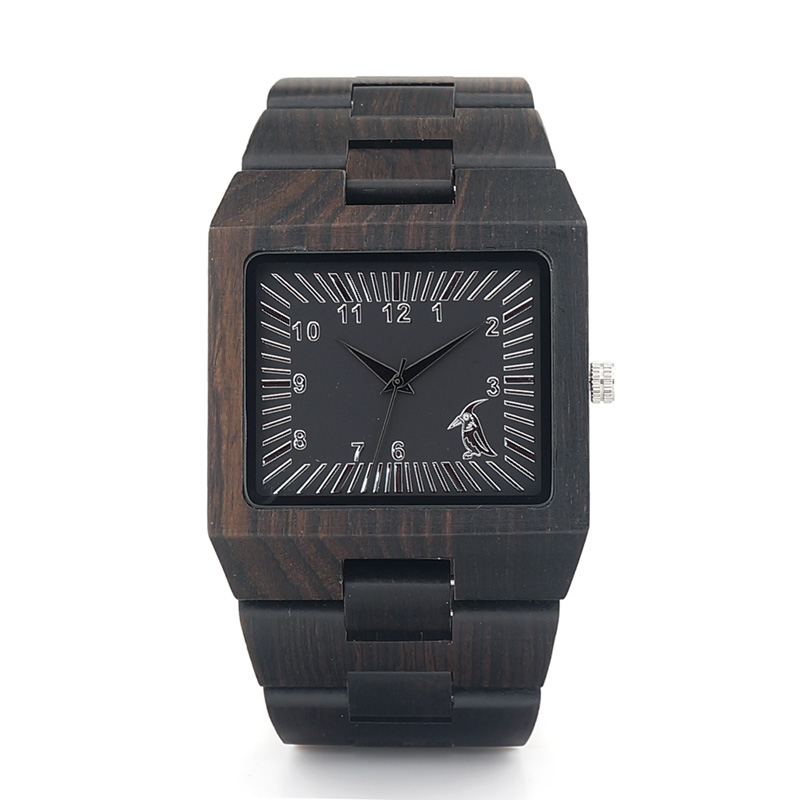 BOBO BIRD Square Wood Watch Men Analog Quartz Watch M @