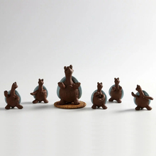 Collection ceramic Turtle figurines for living room cabinet decoration set of 6
