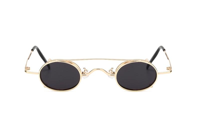 Ralferty Vintage Small Clip On Sunglasses Women Men Retro Mini Steampunk Goggles Punk Sun Glasses UV400 Eyewear Accessories B012 2