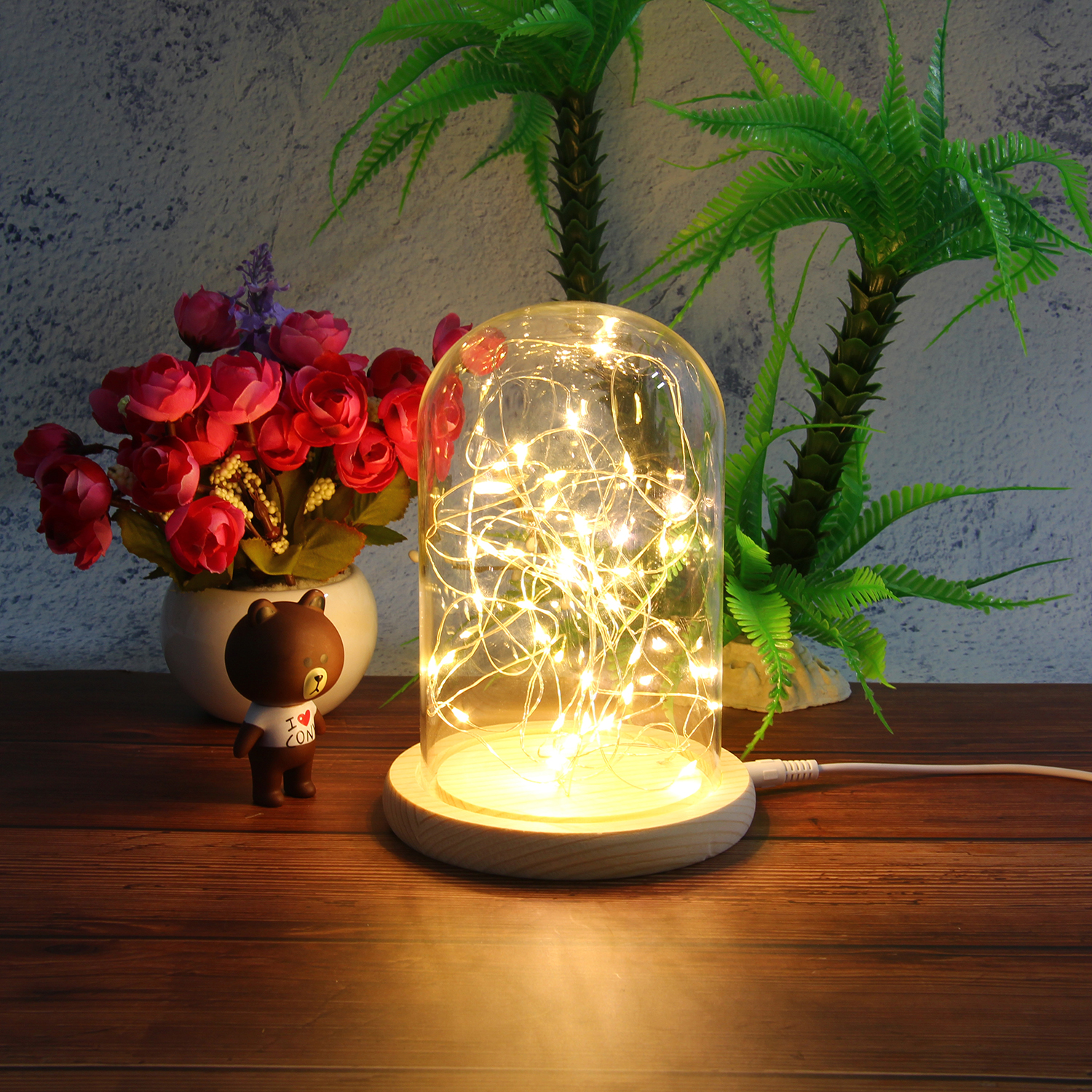 Creative Glass Dome Bell Jar Display Wooden Base with LED Light Warm Fairy Starry String Lights Desk Ornament for Home Decor 4