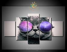 5 Pieces/set A cat with sunglasses Art For Wall Decor Home Decoration Picture Paint on Canvas Prints Painting for Living Room