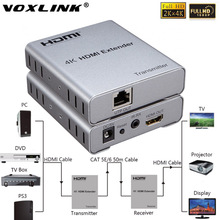 VOXLINK 4Kx2K 1080P HDMI Extender TX/RX with IR Over Cat5E/6 50M HDMI 1.4 Launcher+Receiver Support 3D For TV Projector DVD PS3