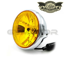 "7"" CHROME H4 Cafe Racer Scrambler Vintage Motorcycle Head Light Decorative Lights Lighting for YAMAHA HONDA HARLEY Free Shipping"