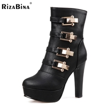 Buy size 33-43 women round toe high heel half short boot mid calf winter warm platform boot sexy fashion footwear heels shoes P21990 for $33.14 in AliExpress store