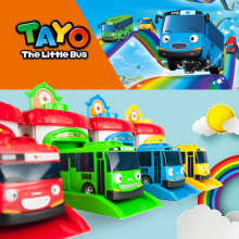 4pcs/set Scale model tayo the little bus children miniature bus plastic baby oyuncak garage tayo bus kids toys Christmas gift(China)