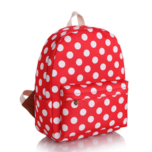 new and fashion backpacks bright red dots printing teenages  school bag women casual daypacks  factory wholesale