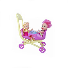 Pink Double Baby Stroller Doll Accessory  Infant Carriage Stroller Trolley Nursery Toys Furniture For  Doll Gifts for Baby Girls