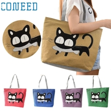 Women Girl Vey Cute Cat New Trend Canvas Shoulder Bag Messenger Shopping Bag Storage bag for Gift Levert Dropship mar3