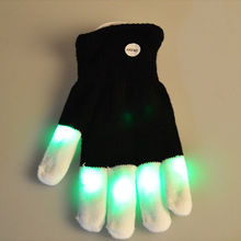 1PC Halloween Decorative Practical LED Flashing Glove Glow 7 Mode Light Up Finger Lighting Night Party Glow Party Supplies Glove(China)