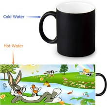 350ml Bugs Bunny Color Transforming Mugs Coffee Milk Ceramic Morphing Mug Novelty Heat Changing Color Tea Cup(China)