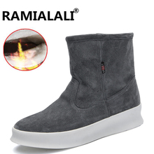Ramialali Winter Western Cowboy Ankle Martin Snow Boots Men Shoes Men Luxury Cow Suede Leather Warm Plush&Fur Work Footwear(China)