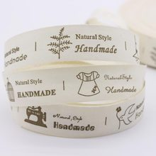 Natural Style Handmade Lovely Bear Printed Cotton Webbing Zakka Sewing Label Cotton Fabric Printing Sewing Tape Ribbons For DIY(China)