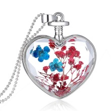 LASPERAL 2017 Fashion Genuine Dry Flower Cabochon Heart Glass Pendant Long Necklace 60cm 1PC Novelty Jewelry Gift For Women
