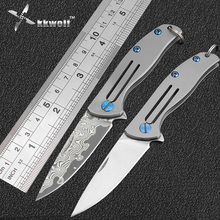 High quality damascus pocket knife Mini titanium handle camping tactical survival folding knife EDC Self-defense key chain knife