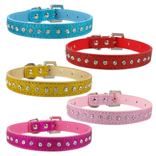Pink Color 1 Row Rhinestone Dog Collar Diamante Crystal Pet Cat  kitten Collars Pu Leather XS S M For Chihuahua