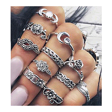 Midi Rings Set for Women 2017 New Fashion  Boho Chic Moon Flowers Rose Antique Silver Plated Jewelry Accessories 11pcs/set