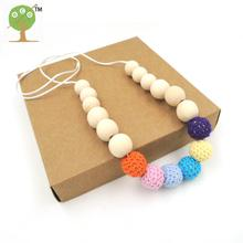 6 PCS natural wooden beads pastel crochet beads 15mm silk cord eco baby girl necklace gift comfortable necklace EN52