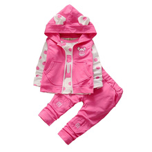 BibiCola spring fall children t shirt top pants 3pcs clothes suit baby girl clothing sets infant kids casual dot tracksuit set