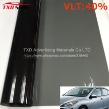 Cheapest VLT 40% 50x300CM/Lot Black Car Window Tint Film Glass 2 PLY Car Auto House Commercial Solar Side window Tint film(China)