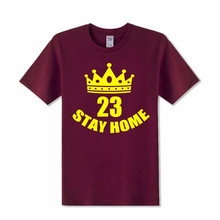 2018 Cleveland Summer Stay Home LBJ T Shirts Men James T shirts Short Sleeve Lebron Basket ball T-Shirt USA jersey Cavalier Tees(China)