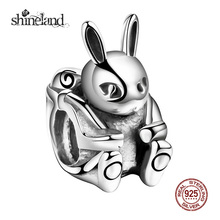 Buy Shineland Easter Bunny Charms Original 925 Sterling Silver Animal Rabbit Pendants Bead Bracelet Jewelry Making DIY Baby Gift for $9.52 in AliExpress store