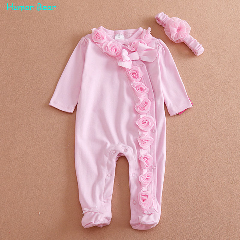 Humor Bear NEW  Newborn Baby Girl Clothes Bow/Flowers Romper Clothing Set Jumpsuit &amp; Headband 2 PC Cute Infant Cirls Rompers<br><br>Aliexpress