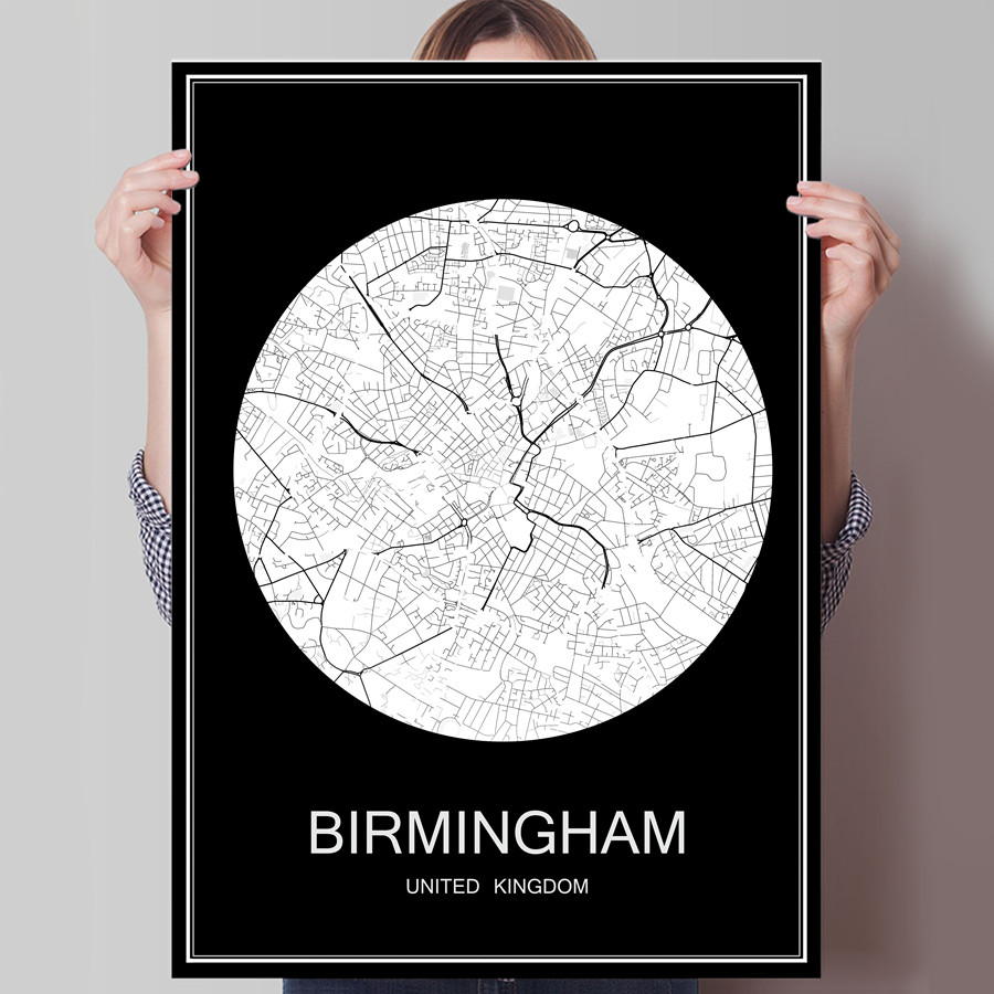 Famous City Map BIRMINGHAM UK Print Poster On Paper Or Canvas Wall Sticker For Bar Pub Cafe Living Room Home Decoration
