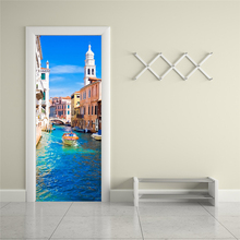 2 sheets/pcs Sea City Landscape 3D Wall Art Poster DIY Venice Canal Door Sticker Chic Mural Paper for Corridor Living Room Decor