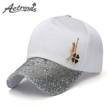 [AETRENDS] 2017 Summer Women Baesball Caps Fashion Hat with Sequins Accessories Z-5338()