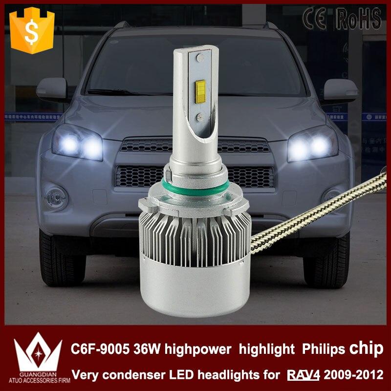 Guang Dian car led light Headlight Head lamp HIGH BEAM C6F 6000K white 12V 36W 9005 HB3 for RAV4 2009-2012 only<br><br>Aliexpress