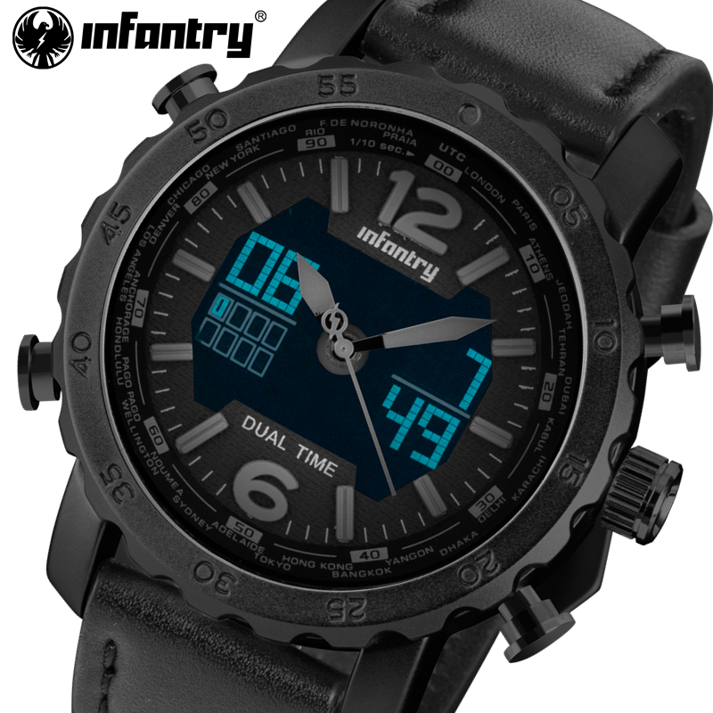 INFANTRY Watches Men Leather Strap Chronograph Stop Watches Military Army Top Luxury Brand Sports Watch Wristwatch Relogios<br>