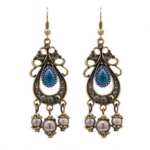 New Trendy Ethnic Crystal Drop Water Earrings for Women Vintage Simulated-pearl nice Earring Ear Cuff Jewelry Accessories