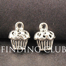 20 pcs Antique Silver Cup Cake charm DIY Metal Bracelet Necklace Jewelry Findings  A862