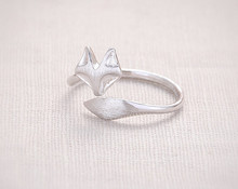 Fashion fox's head ring, face and tail wire drawing processing fox rings for women wholesale free shipping