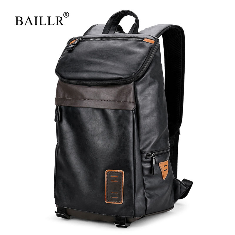 BAILLR Brand New Arrival 2017 Fashion Men backpack pu Leather backpack big capacity Men bags Male Functional Laptop Travel bags <br>
