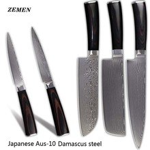 XYJ brand cooking knives damascus pattern chef santoku chopper utility knife AUS-10 Damascus steel kitchen knives set hot sales