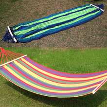 Portable Hammock Outdoor Canvas Double Spreader Bar Hammock Home Outdoor Garden Travel Swing Hang Bed Hammock 200 x 80cm E5M1(China)