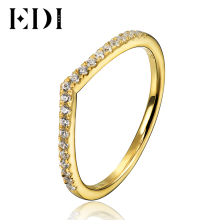 EDI Classic 18K Yellow Gold Genuine Natural Real Diamond H/SI Ring For Women Wedding Engagement Bands Fine Jewelry Gifts(China)