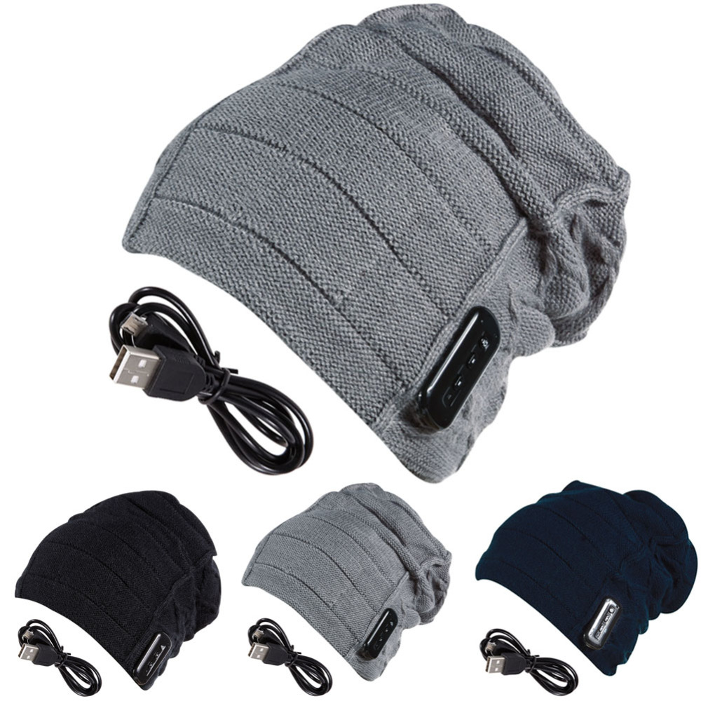Free Shipping Black Gray Navy Warm Beanie Hat Wireless Bluetooth Smart Cap Headphone Headset Speaker Mic For Smartphone<br><br>Aliexpress