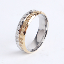 6mm gold and silver gear punk 316l Stainless Steel finger rings for women men wholesale jewelry