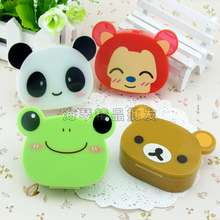 LIUSVENTINA cute animal fox bear panda frog contact lens case lenses container box