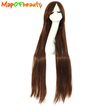 "MapofBeauty Long straight Brown Cosplay wig 100cm 40"" Costume party High Temperature Fiber Heat Resistant Synthetic hair(China)"