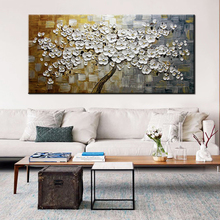 MUYA abstract oil painting on canvas handmade palette knife painting multicolor tree landscape wall pictures for living room