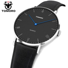 TOMORO Super Slim Quartz Casual Wristwatch Business JAPAN Genuine Leather Analog Quartz Watch Men's Fashion 2017 relojes hombre