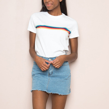 Women Jamie Rainbow Tops Soft Cotton Crewneck Rainbow Stripes Tees Girl's Rainbow Short Sleeve T-shirts