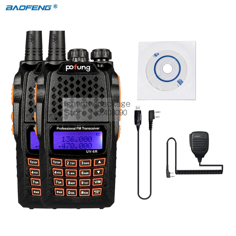 2pcs Baofeng Pofeng UV-6R Walkie talkie Radio vhf 136-174/400-520 Yaesu Transceiver Two-way Radio Walkie Talkie+Cable Mic(China)